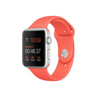 Apple Watch Sport - 42 mm - silver aluminium - smart watch with sport band - fluoroelastomer - apricot - band size 140-210 mm - S/M/L - Wi-Fi, Bluetooth - 30 g