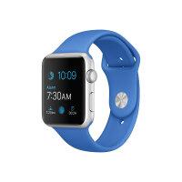 Apple Watch Sport - 42 mm - silver aluminium - smart watch with sport band - fluoroelastomer - royal blue - band size 140-210 mm - S/M/L - Wi-Fi, Bluetooth - 30 g