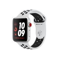 Apple Watch Nike+ Series 3 (GPS + Cellular) - 38 mm - silver aluminium - smart watch with Nike sport band - fluoroelastomer - black/pure platinum - band size 130-200 mm - 16 GB - Wi-Fi, Bluetooth - 4G - 28.7 g