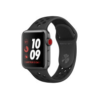 Apple Watch Nike+ Series 3 (GPS + Cellular) - 38 mm - space grey aluminium - smart watch with Nike sport band - fluoroelastomer - anthracite/black - band size 130-200 mm - 16 GB - Wi-Fi, Bluetooth - 4G - 28.7 g