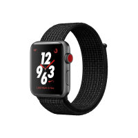 Apple Watch Nike+ Series 3 (GPS + Cellular) - 38 mm - space grey aluminium - smart watch with Nike sport loop - woven nylon - black/pure platinum - band size 130-190 mm - 16 GB - Wi-Fi, Bluetooth - 4G - 28.7 g