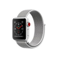 Apple Watch Series 3 (GPS + Cellular) - 42 mm - silver aluminium - smart watch with sport loop - woven nylon - seashell - band size 145-220 mm - 16 GB - Wi-Fi, Bluetooth - 4G - 34.9 g