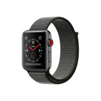 Apple Watch Series 3 (GPS + Cellular) - 42 mm - space grey aluminium - smart watch with sport loop - woven nylon - dark olive - band size 145-220 mm - 16 GB - Wi-Fi, Bluetooth - 4G - 34.9 g