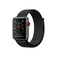 Apple Watch Series 3 (GPS + Cellular) - 42 mm - space grey aluminium - smart watch with sport loop - woven nylon - black - band size 145-220 mm - 16 GB - Wi-Fi, Bluetooth - 4G - 34.9 g