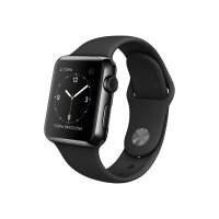 Apple Watch Original - 38 mm - space black stainless steel - smart watch with sport band - black - band size 130-200 mm - S/M/L - Wi-Fi, Bluetooth - 40 g