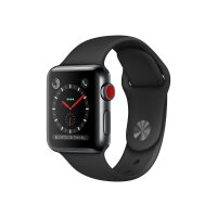 Apple Watch Series 3 (GPS + Cellular) - 38 mm - space black stainless steel - smart watch with sport band - fluoroelastomer - black - band size 130-200 mm - 16 GB - Wi-Fi, Bluetooth - 4G - 42.4 g