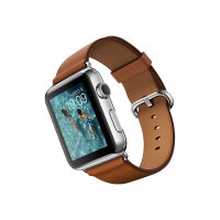 Apple Watch Original - 42 mm - stainless steel - smart watch with classic buckle - leather - saddle brown - band size 145-215 mm - Wi-Fi, Bluetooth - 50 g