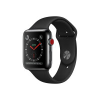Apple Watch Series 3 (GPS + Cellular) - 42 mm - space black stainless steel - smart watch with sport band - fluoroelastomer - black - band size 140-210 mm - 16 GB - Wi-Fi, Bluetooth - 4G - 52.8 g
