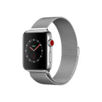Apple Watch Series 3 (GPS + Cellular) - 42 mm - stainless steel - smart watch with milanese loop - stainless steel - silver - band size 150-200 mm - 16 GB - Wi-Fi, Bluetooth - 4G - 52.8 g