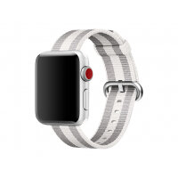 Apple 38mm Woven Nylon Band - Watch strap - 125-195 mm - white stripe - for Watch (38 mm)