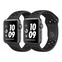 Apple Watch Nike+ Series 3 (GPS) - 42 mm - space grey aluminium - smart watch with Nike sport band - fluoroelastomer - anthracite/black - band size 140-210 mm - 8 GB - Wi-Fi, Bluetooth - 32.3 g
