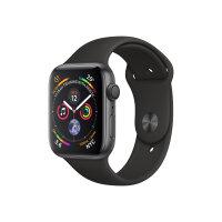 "Apple Watch Series 4 (GPS) - 40 mm - space grey aluminium - smart watch with sport band - fluoroelastomer - black - band size 130-200 mm - display 1.57"" - 16 GB - Wi-Fi, Bluetooth - 30.1 g"