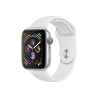 """Apple Watch Series 4 (GPS) - 44 mm - silver aluminium - smart watch with sport band - fluoroelastomer - white - band size 140-210 mm - display 1.78"""" - 16 GB - Wi-Fi, Bluetooth - 36.7 g"""