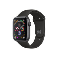 "Apple Watch Series 4 (GPS) - 44 mm - space grey aluminium - smart watch with sport band - fluoroelastomer - black - band size 140-210 mm - display 1.78"" - 16 GB - Wi-Fi, Bluetooth - 36.7 g"