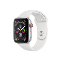 """Apple Watch Series 4 (GPS + Cellular) - 40 mm - silver aluminium - smart watch with sport band - fluoroelastomer - white - band size 130-200 mm - display 1.57"""" - 16 GB - Wi-Fi, Bluetooth - 4G - 30.1 g"""
