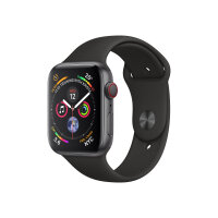 """Apple Watch Series 4 (GPS + Cellular) - 44 mm - space grey aluminium - smart watch with sport band - fluoroelastomer - black - band size 140-210 mm - display 1.78"""" - 16 GB - Wi-Fi, Bluetooth - 4G - 36.7 g"""