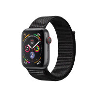 """Apple Watch Series 4 (GPS + Cellular) - 44 mm - space grey aluminium - smart watch with sport loop - woven nylon - black - band size 145-220 mm - display 1.78"""" - 16 GB - Wi-Fi, Bluetooth - 4G - 36.7 g"""