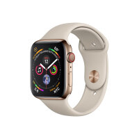 """Apple Watch Series 4 (GPS + Cellular) - 40 mm - gold stainless steel - smart watch with sport band - fluoroelastomer - stone - band size 130-200 mm - display 1.57"""" - 16 GB - Wi-Fi, Bluetooth - 4G - 39.8 g"""