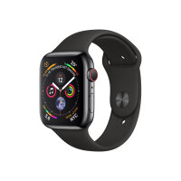 """Apple Watch Series 4 (GPS + Cellular) - 44 mm - space black stainless steel - smart watch with sport band - fluoroelastomer - black - band size 140-210 mm - display 1.78"""" - 16 GB - Wi-Fi, Bluetooth - 4G - 47.9 g"""