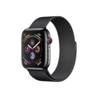 """Apple Watch Series 4 (GPS + Cellular) - 44 mm - space black stainless steel - smart watch with milanese loop - steel mesh - space black - band size 150-200 mm - display 1.78"""" - 16 GB - Wi-Fi, Bluetooth - 4G - 47.9 g"""