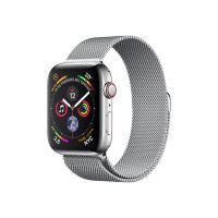 """Apple Watch Series 4 (GPS + Cellular) - 44 mm - stainless steel - smart watch with milanese loop - steel mesh - band size 150-200 mm - display 1.78"""" - 16 GB - Wi-Fi, Bluetooth - 4G - 47.9 g"""