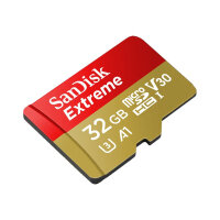SanDisk Extreme - 32 GB - A1 / Video Class V30 / UHS-I U3 - microSDHC UHS-I microSDHC to SD Adapter Included Flash Memory Card
