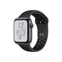 """Apple Watch Nike+ Series 4 (GPS) - 44 mm - space grey aluminium - smart watch with Nike sport band - fluoroelastomer - anthracite/black - band size 140-210 mm - display 1.78"""" - 16 GB - Wi-Fi, Bluetooth - 36.7 g"""