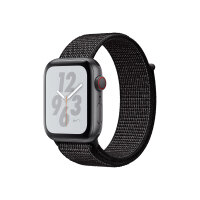 """Apple Watch Nike+ Series 4 (GPS + Cellular) - 40 mm - space grey aluminium - smart watch with Nike sport loop - woven nylon - black - band size 130-190 mm - display 1.57"""" - 16 GB - Wi-Fi, Bluetooth - 4G - 30.1 g"""