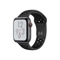 """Apple Watch Nike+ Series 4 (GPS + Cellular) - 44 mm - space grey aluminium - smart watch with Nike sport band - fluoroelastomer - anthracite/black - band size 140-210 mm - display 1.78"""" - 16 GB - Wi-Fi, Bluetooth - 4G - 36.7 g"""