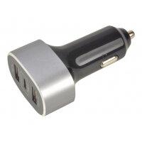 2-Power - Car power adapter - 3 output connectors (USB, USB-C) - black