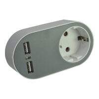 Compatible - Power adapter - 3.4 A - 2 output connectors (Europlug, 2 x USB) - Europe