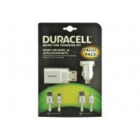 Duracell AC/DC Charging Bundle + Cables - Power adapter kit - (AC power adapter, car power adapter, USB cable)