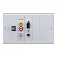 VISION TechConnect 2 Lite Module Package - Modular facility plate kit with snap-ins - HD-15, RCA X 3, mini-phone stereo 3.5 mm, USB Type B - white, RAL 9010