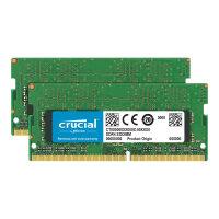 Crucial - DDR4 - 32 GB: 2 x 16 GB - SO-DIMM 260-pin - 2666 MHz / PC4-21300 - CL19 - 1.2 V - unbuffered - non-ECC