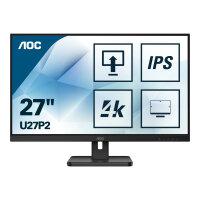 "AOC U27P2 - LED monitor - 27"" - 3840 x 2160 4K UHD (2160p) @ 60 Hz - IPS - 350 cd/m² - 1000:1 - 4 ms - HDMI, DisplayPort - speakers - black"