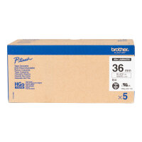 Brother HGE-261V5 - Black on white - Roll (3.6 cm x 8 m) 5 roll(s) laminated tape - for P-Touch PT-9500pc, PT-9700PC, PT-9800PCN; P-Touch R RL-700S