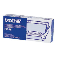 Brother PC75 - Black - print ribbon cassette - for FAX-T102, T104, T106