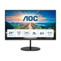 "AOC Q24V4EA - LED monitor - 24"" (23.8"" viewable) - 2560 x 1440 QHD @ 75 Hz - IPS - 250 cd/m² - 1000:1 - 4 ms - HDMI, DisplayPort - speakers - black"
