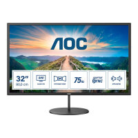 "AOC Q32V4 - LED monitor - 32"" (31.5"" viewable) - 2560 x 1440 QHD @ 75 Hz - IPS - 250 cd/m² - 1200:1 - 4 ms - HDMI, DisplayPort - speakers - black"
