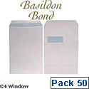 Basildon Bond C4 White Window 100gsm Envelopes Pocket Peel and Seal Recycled Pack 50 Ref  B80285