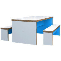 Block Colour Canteen Table and Benches