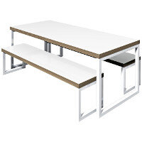 Block Steel White Canteen Table and Benches