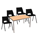 4 x Stacking Black Chairs & 1 Rectangular Beech Table Canteen Bundle