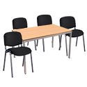 4 X Black Upholstered Stacking Chairs & 1 Rectangular Beech Table Canteen Bundle