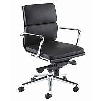 Aria C Medium Back Designer Leather Office Arm Chair Black CM2