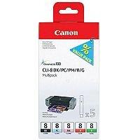 Canon CLI-8 ( 0620B027 ) 5 Colours: Black, Photo Magenta, Photo Cyan, Red, Green Ink Cartridge Original