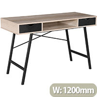 Coba Home Office Country Oak Workstation With Black Pull Out Drawers & Frame W1200xD480xH760mm