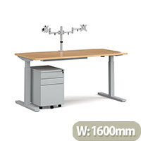 Elev8 Mono Straight Electric Height Adjustable Sit-Stand Desk 1600mm Oak Top Silver Frame With Double Monitor Arm Steel Pedestal And Cable Tray