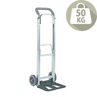 Compact Folding Hand Truck Silver With Rubber Wheels Capacity 90Kg 313195