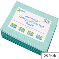 2Work Heavyweight Cleaning Cloths Green Pack of 25 CCGV50ARL